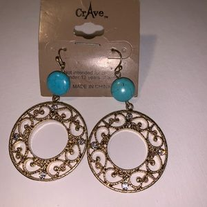 Jewelry - Gold Turquoise Earrings Cowgirl